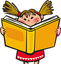 girl reading book cartoon